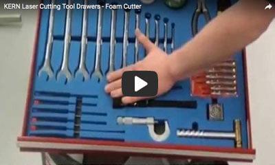 play video: KERN laswer cutting tool drawers - foam cutter