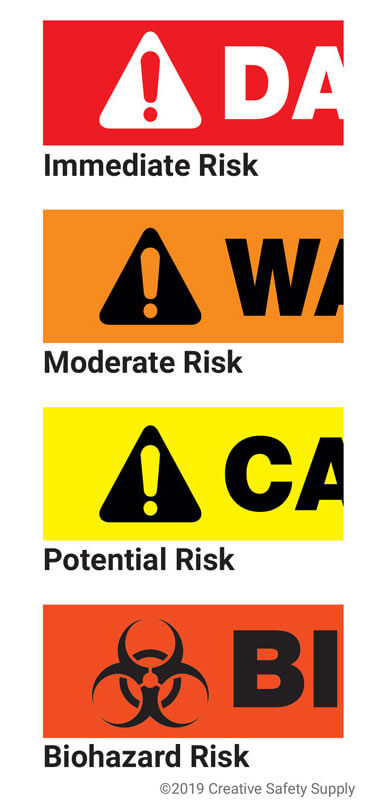25 Orange Fluorescent Multi-Reason Warning Stickers 8 X 5