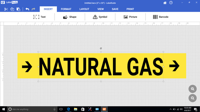 LabelSuite Natural Gas Label Design