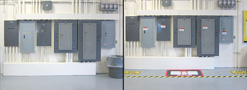 Before and After - Marking Electrical box area