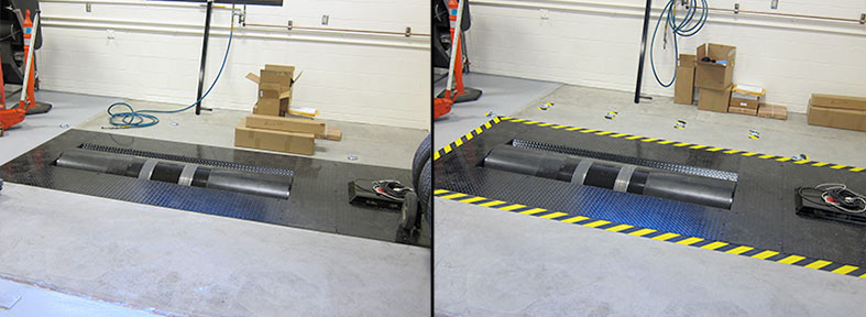 Before and After - Hazard tape