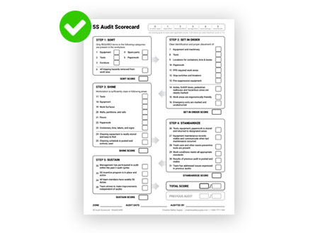 5S Audit Scorecard from Creative Safety Supply