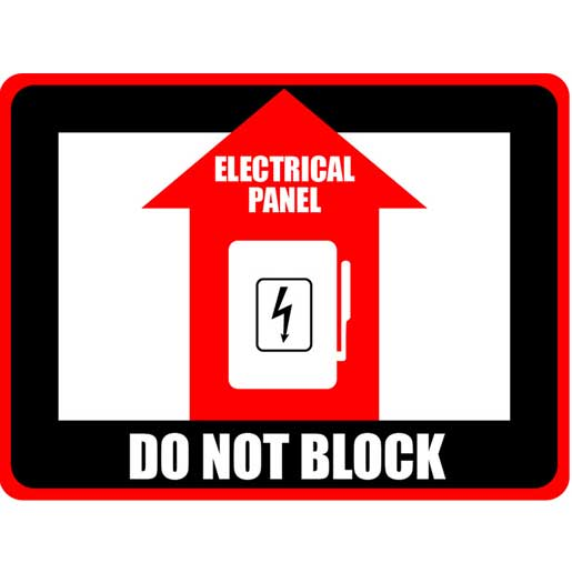 Do Not Block electrical panel - floor sign
