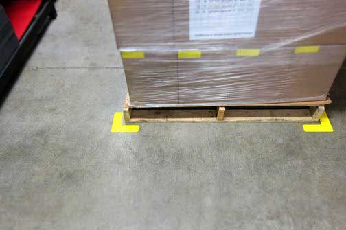 Mark pallet area with floor tape corners