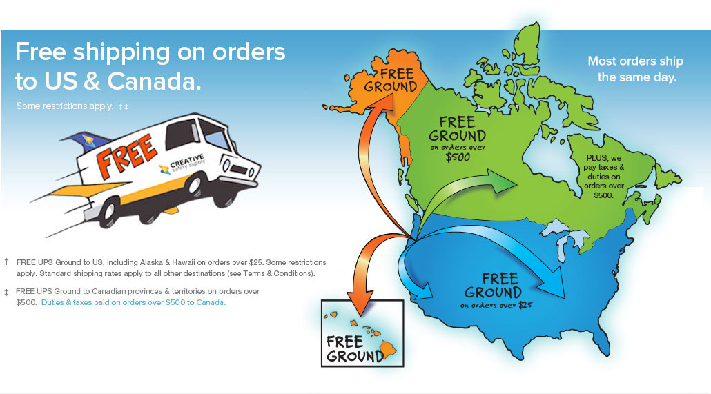 Free Standard Shipping on all orders within the U.S. and Canada.