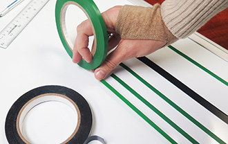 Vinyl chart tape for layout boards and dry erase boards